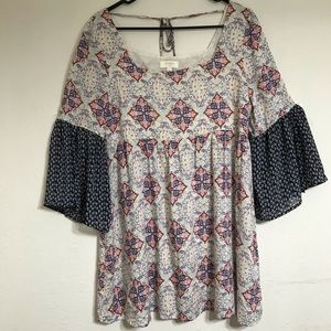 UMGEE small peasant dress for women red white blue